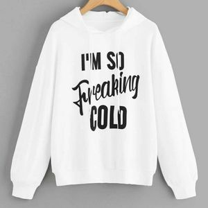 Tops - White & Black I'm Cold Pullover Hoodie